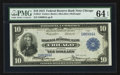 Fr. 813 $10 1915 Federal Reserve Bank Note PMG Choice Uncirculated 64 EPQ