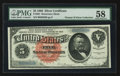 Large Size:Silver Certificates, Fr. 261 $5 1886 Silver Certificate PMG Choice About Unc 58.. ...