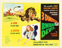"""Bwana Devil (United Artists, 1953). Half Sheet (22"""" X 28"""") 3-D Style A. From the collection of Wade Williams..."""