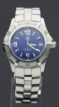 Timepieces:Wristwatch, Tag Heuer WN1112 Blue Dial Professional Wristwatch. ...