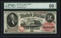 Large Size:Legal Tender Notes, Fr. 46 $2 1875 Legal Tender PMG Gem Uncirculated 66 EPQ.. ...
