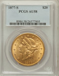 Liberty Double Eagles: , 1877-S $20 AU58 PCGS. PCGS Population (312/939). NGC Census:(634/1202). Mintage: 1,735,000. Numismedia Wsl. Price for prob...