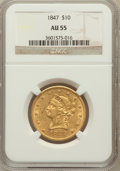Liberty Eagles: , 1847 $10 AU55 NGC. NGC Census: (168/222). PCGS Population (35/45).Mintage: 862,258. Numismedia Wsl. Price for problem free...