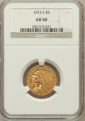 Indian Half Eagles: , 1913-S $5 AU50 NGC. NGC Census: (92/1521). PCGS Population(90/689). Mintage: 408,000. Numismedia Wsl. Price for problem fr...