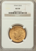 Indian Eagles: , 1914-S $10 AU50 NGC. NGC Census: (18/886). PCGS Population(26/725). Mintage: 208,000. Numismedia Wsl. Price for problem fr...