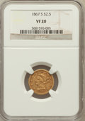 Liberty Quarter Eagles: , 1867-S $2 1/2 VF20 NGC. NGC Census: (4/151). PCGS Population(5/100). Mintage: 28,000. Numismedia Wsl. Price for problem fr...