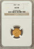 Gold Dollars: , 1857 G$1 AU58 NGC. NGC Census: (257/716). PCGS Population(154/378). Mintage: 774,789. Numismedia Wsl. Price for problemfr...