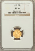 Gold Dollars: , 1857 G$1 AU58 NGC. NGC Census: (259/716). PCGS Population(156/378). Mintage: 774,789. Numismedia Wsl. Price for problemfr...