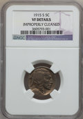 Buffalo Nickels: , 1915-S 5C -- Improperly Cleaned -- NGC Details. VF. NGC Census:(8/563). PCGS Population (35/906). Mintage: 1,505,000. Numi...