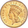 Three Dollar Gold Pieces, 1868 $3 MS61 PCGS....