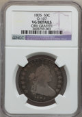 Early Half Dollars: , 1805 50C -- Obv Graffiti -- NGC Details. VG. O-107. NGC Census:(6/950). PCGS Population (10/427). Mintage: 211,722. Numism...