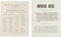 Miscellaneous:Ephemera, Two Wild West Printed Documents.... (Total: 2 Items)