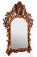 Paintings, A BLACK FOREST-STYLE WALNUT CARVED MIRROR . Maker unknown, circa 1855. 107-1/2 x 66 inches (273.1 x 167.6 cm). ...