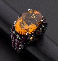 Citrine Gold Ring With Multi-Gemstone Accents
