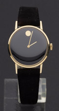 Timepieces:Wristwatch, Vintage Movado Black Face 14k Gold Wristwatch. ...
