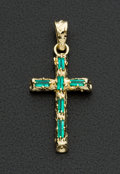 Estate Jewelry:Pendants and Lockets, Emerald & 18K Gold Cross Pendant. ...
