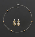 Estate Jewelry:Suites, Diamond & Gold Earrings & Necklace Set. ... (Total: 2Items)