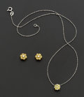 Estate Jewelry:Suites, Yellow Sapphire & Diamond Earrings & Pendant Set. ...