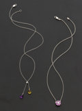 Estate Jewelry:Necklaces, Pink Sapphire & Citrine & Amethyst 18k Gold Necklaces. ...