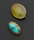 Estate Jewelry:Brooches - Pins, Antique Turquoise Brooch & Honey Striped Quartz Brooch BothGold. ... (Total: 2 Items)