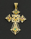 Estate Jewelry:Pendants and Lockets, Emerald, Sapphire & Ruby 18k Gold Cross Pendant. ...