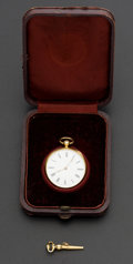 Timepieces:Pocket (pre 1900) , Swiss 18k Gold & Enamel Pocket Watch. ...