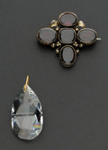 Estate Jewelry:Pendants and Lockets, Early Fancy Rhodolite Garnet Pin & Facetted Large CrystalPendant. ... (Total: 2 Items)