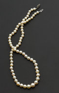Estate Jewelry:Pearls, Pearl Necklace With Gold Clasp. ...