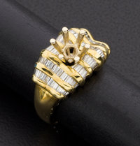 18k Gold & Diamond Ring Ready For A Center Stone