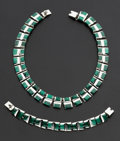 Estate Jewelry:Suites, Sterling Silver & Malachite Collar & Bracelet Set. ...