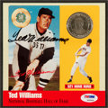 Baseball Collectibles:Photos, Ted Williams Signed Card/Coin Display....