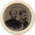 Political:Ferrotypes / Photo Badges (pre-1896), Seymour & Blair: Awesome Jugate. ...