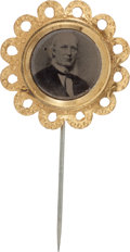 Political:Ferrotypes / Photo Badges (pre-1896), Horace Greeley: Gorgeous Ferrotype Stickpin....