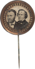 Political:Ferrotypes / Photo Badges (pre-1896), Grant & Wilson: Ferrotype Jugate....