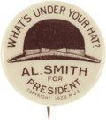Political:Pinback Buttons (1896-present), Al Smith: Brown Derby Special. ...