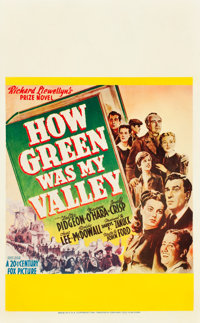 "How Green Was My Valley (20th Century Fox, 1941). Window Card (14"" X 22"")"