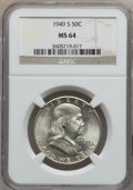 Franklin Half Dollars: , 1949-S 50C MS64 NGC. NGC Census: (817/1219). PCGS Population(1756/1593). Mintage: 3,744,000. Numismedia Wsl. Price for pro...