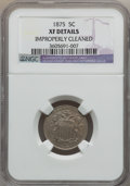 Shield Nickels: , 1875 5C -- Improperly Cleaned -- NGC Details. XF. NGC Census: (0/155). PCGS Population: (7/257). CDN: $135 Whsle. Bid for p...