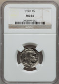 Buffalo Nickels: , 1930 5C MS64 NGC. NGC Census: (517/498). PCGS Population(811/1365). Mintage: 22,849,000. Numismedia Wsl. Price forproblem...