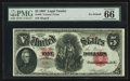 Large Size:Legal Tender Notes, Fr. 83 $5 1907 Legal Tender PMG Gem Uncirculated 66 EPQ.. ...