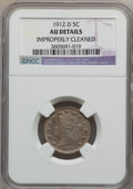 Liberty Nickels: , 1912-D 5C -- Improperly Cleaned -- NGC Details. AU. NGC Census:(1/679). PCGS Population (5/803). Mintage: 8,474,000. Numis...