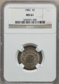 Shield Nickels: , 1882 5C MS61 NGC. NGC Census: (37/745). PCGS Population (15/990).Mintage: 11,476,000. Numismedia Wsl. Price for problem fr...