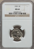 Buffalo Nickels: , 1929 5C MS64 NGC. W/P. NGC Census: (515/296). PCGS Population(830/697). Mintage: 36,446,000. Numismedia Wsl. Price for pr...