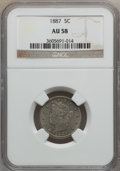 Liberty Nickels: , 1887 5C AU58 NGC. W/P. NGC Census: (15/392). PCGS Population(29/496). Mintage: 15,263,652. Numismedia Wsl. Price for prob...