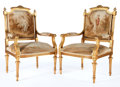 Furniture : French, A PAIR OF FRENCH LOUIS XVI-STYLE GILT WOOD AND AUBUSSON TAPESTRYUPHOLSTERED FAUTEUILS . Maker unknown, France, circa 1900...(Total: 2 Items)
