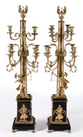 Furniture : Continental, A PAIR OF ITALIAN NEOCLASSICAL-STYLE GILT BRONZE AND PATINATEDMETAL SEVEN-LIGHT CANDELABRA . Maker unknown, possibly Rome, ...(Total: 2 Items)