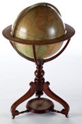 Furniture , A W. & A.K. JOHNSTON VICTORIAN TERRESTRIAL GLOBE AND COMPASS IN MAHOGANY STAND . W. & A.K. Johnston, Edinburgh, Scotland and...