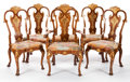 Furniture , A SET OF TWELVE GEORGE II-STYLE ENGLISH GILT WOOD, WALNUT AND NEEDLEPOINT DINING CHAIRS . Maker unknown, England, circa 1920... (Total: 12 Items)