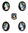 Decorative Arts, French:Other , A MATTED GROUP OF FIVE FRENCH LIMOGES ENAMEL PORTRAIT MINIATURES: ROMAN EMPERORS . Mid 17th century. In the sty...