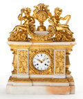Timepieces:Musical - Mechanical , A THOMIRE ET CIE FRENCH LOUIS XVI-STYLE GILT BRONZE AND MARBLE MANTLE CLOCK . Thomire et Cie, Paris, France, circa 1845. Mar...